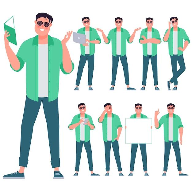 Set platte ontwerp jonge man tekens