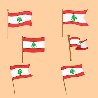 Set platte ontwerp libanese vlaggen flag
