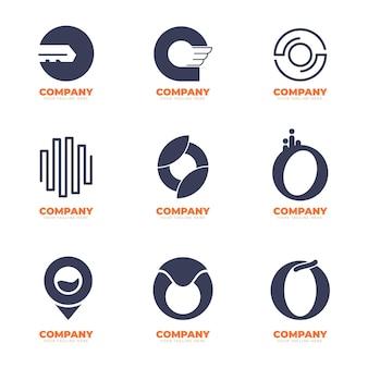 Set platte ontwerp o logo sjablonen