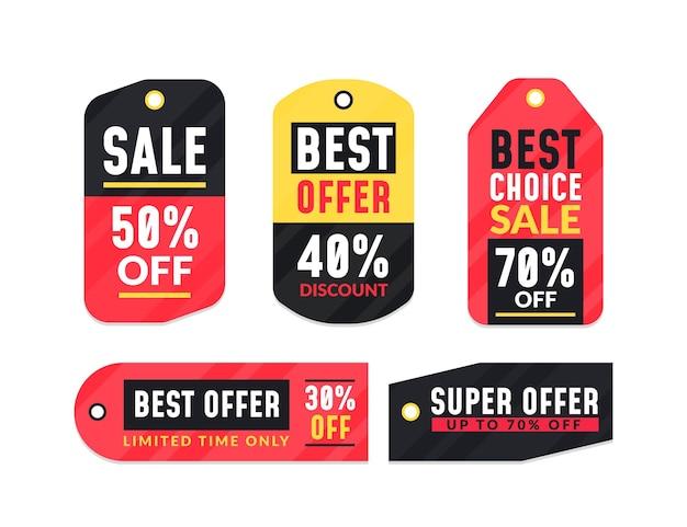 Set platte ontwerp verkoop tags