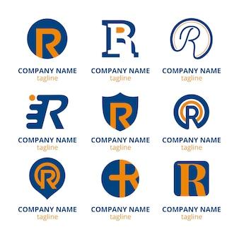 Set platte r-logo sjablonen