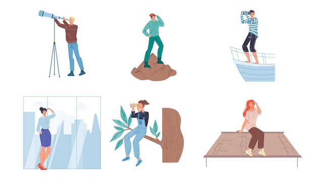 Set platte stripfiguren op zoek in de verte met een verrekijker en hand