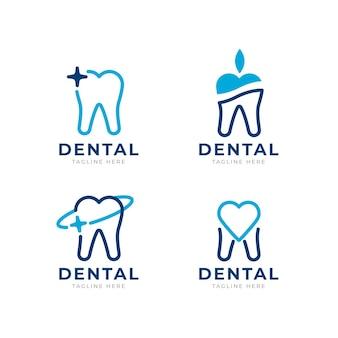 Set platte tandheelkundige logo-sjablonen