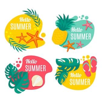 Set platte zomer etiketten