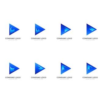 Set play wave-logo, play-knop en wave, combinatie-logo met 3d-blauwe kleurstijl