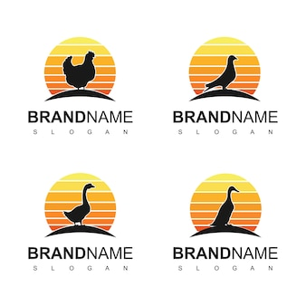 Set pluimvee logo design inspiration