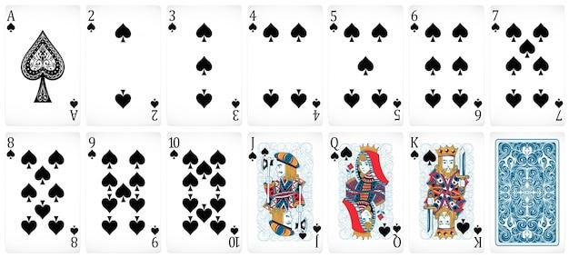Set poker kaarten met voor- en achterontwerp