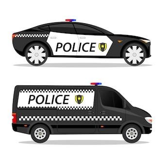 Set police cars van sport car fast auto body