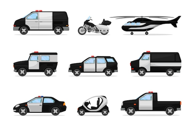 Set politie zwart-wit voertuigen