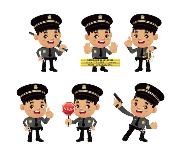 Set politieagent met verschillende poses