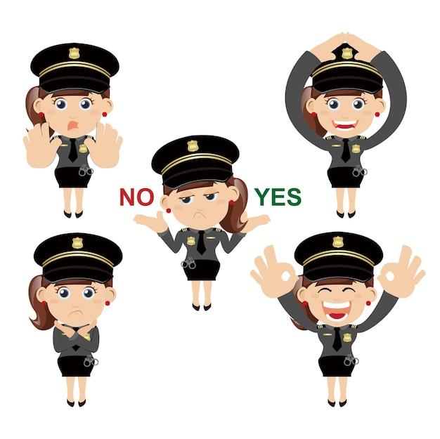 Set politieagentkarakters in verschillende poses