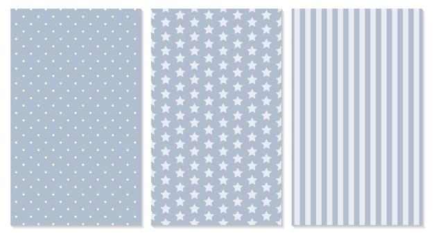 Set polka dot, strepen, sterren patronen. geometrische achtergrond. illustratie.