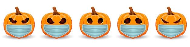 Set pompoen met medisch masker het belangrijkste symbool van de happy halloween-vakantie
