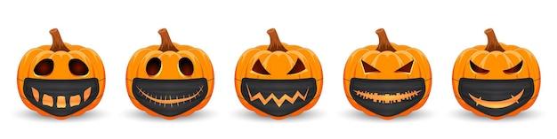 Set pompoen met zwart medisch masker met enge glimlach het belangrijkste symbool van de happy halloween-vakantie