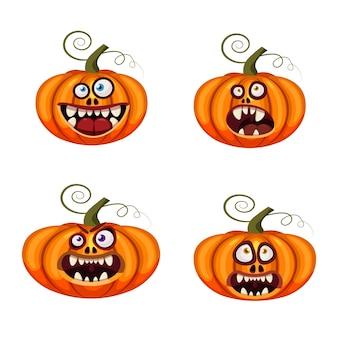 Set pompoenen halloween grappige gezichten open monden griezelig en eng grappige kaken tanden wezens expressie monsters karakters