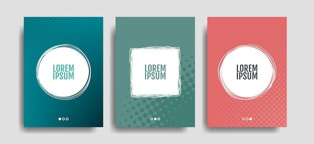 Set pop-art stijl posters. voor uw tekst, offerte of statement. halftone cirkel in gekleurde achtergrond. sjabloon voor omslag, flyer, poster, presentatie. vector illustratie.
