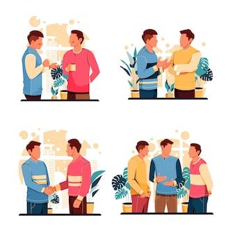 Set portret van de activiteit van praten mannen. platte ontwerpconcept. illustratie