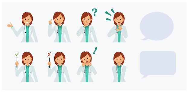 Set portret vrouwelijke arts in verschillende actie, denken, glimlachen, verrassing, schok, advies geven, informatie. platte vector cartoon karakter illustratie.
