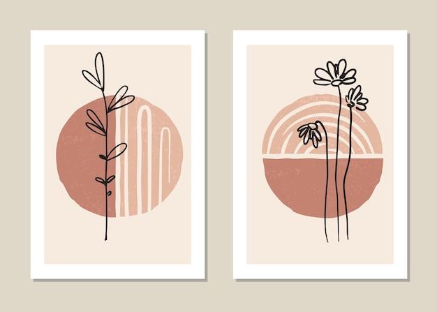 Set poster in minimale stijl met tropisch blad