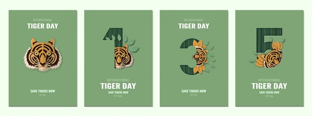 Set poster voor internationale tijgerdag, 29 juli met nummer.