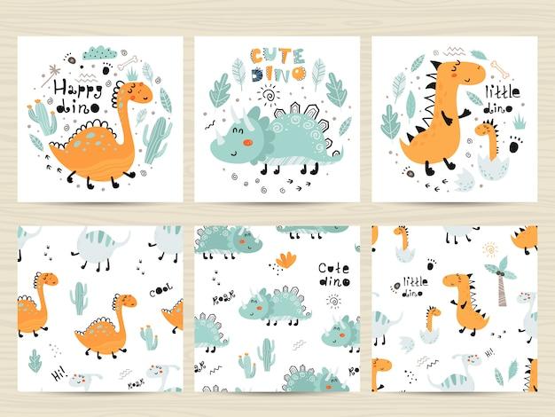 Set posters en naadloze patronen met schattige dinosaurussen en letters.