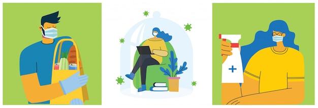 Set posters met mensen beschermd met schild, voedselbezorging, veilig en schoon. gezondheidszorg doel set van illustratie. illustratie in vlakke stijl. corona virusbescherming concept. gezondheidszorg