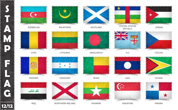Set postzegels met officiële vlaggen van het land