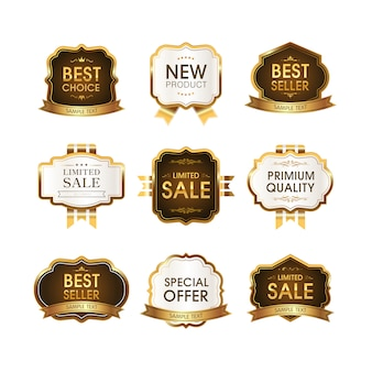 Set premium kwaliteitslabels. moderne illustratie labels voor winkelen, e-commerce, productpromotie, social media stickers, marketing.