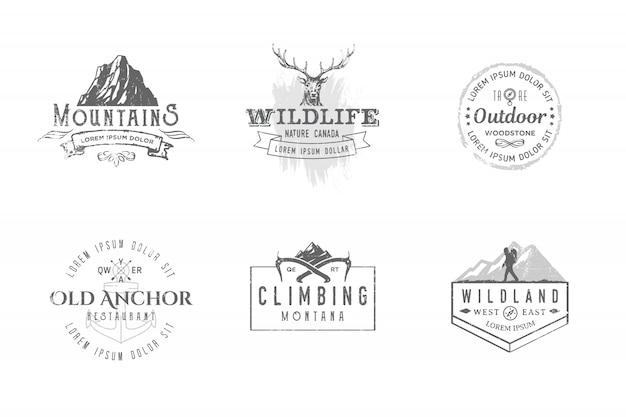 Set premium labels op de thema's natuur, natuur, jacht, reizen, wilde natuur, klimmen, kamperen, leven in de bergen,