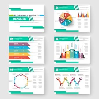 Set presentatie dia sjablonen powerpoint en zakelijke vector brochures