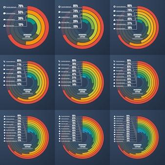 Set presentatie informatieve infographic cirkelgrafieken