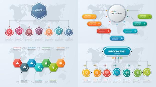 Set presentatie zakelijke infographic sjablonen met optie 7