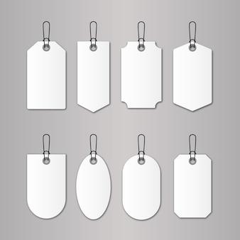 Set prijskaartje en korting logo ontwerpsjabloon