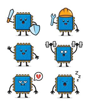 Set processor chipset karakter ontwerp