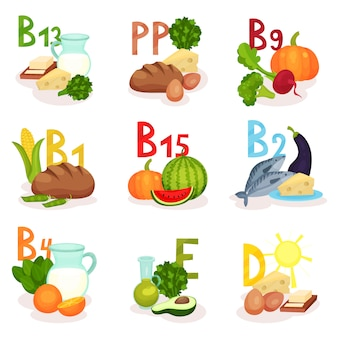 Set producten met verschillende vitamines. gezonde voeding. thema eten. elementen voor poster of banner