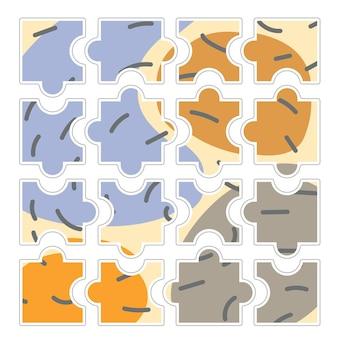 Set puzzelstukjes geïsoleerd op een witte achtergrond. vector illustratie