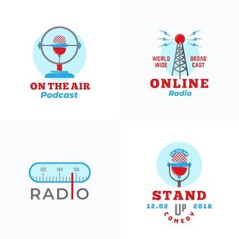 Set radio-uitzending en microfoons logo sjablonen