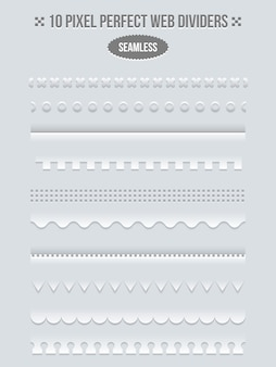 Set randen en scheidingslijnen voor web. lijnpagina, boekbinderontwerp, vectorillustratie