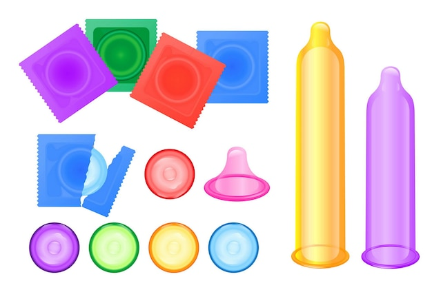 Set realistische condooms latex geïsoleerde of mannelijke anticonceptie voor veiligheid en gezonde seks of mannen