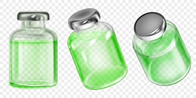 Set realistische doorschijnende coronavirusvaccinflessen met groene vloeistof op transparante achtergrond