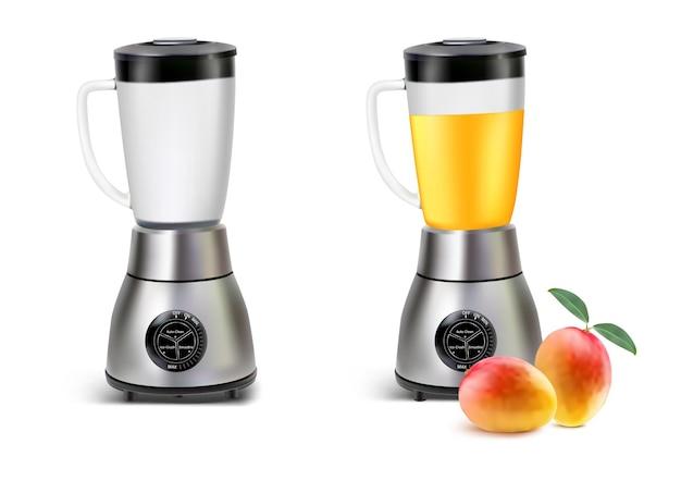 Set realistische juicer blender keukenblender met mangosap en leeg