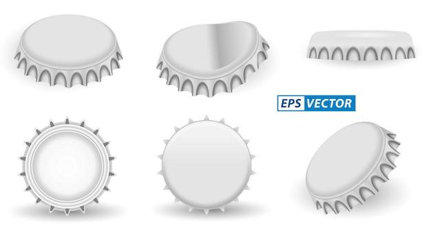 Set realistische kroonkurken aluminium geïsoleerd of bier limonade fles dop metalen deksel