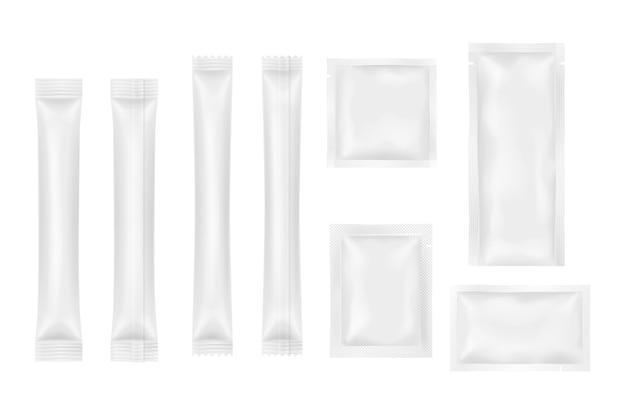 Set realistische sachets voor producten, voedsel, cosmetica of medicijnenpakket
