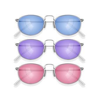 Set realistische zonnebrillen met gekleurd montuur