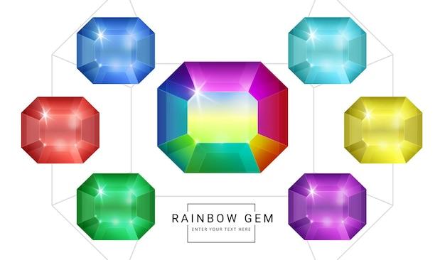 Set regenboog kleur fantasie sieraden edelstenen, veelhoek vorm steen voor spel.