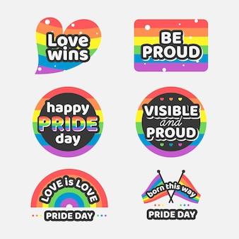 Set regenboog trots etiketten