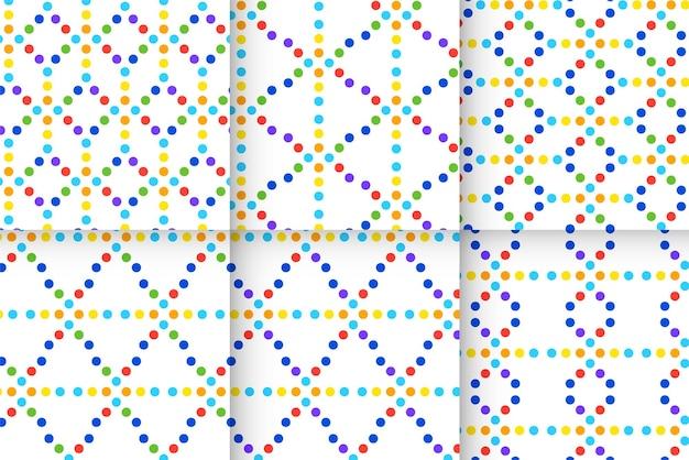 Set regenboogpatronen met stippenlijn