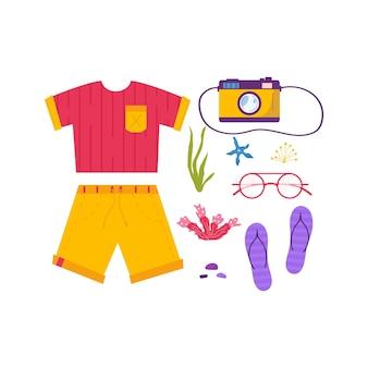 Set reisspullen voor avontuurlijk toerisme, reizen. reis decoratief ontwerp met tropische bladeren, schelpen, kleding, accessoires, schoenen, koffer, voor toerisme. platte cartoon moderne vector