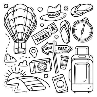 Set reizen elementen doodle