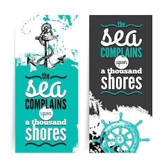 Set reizen grunge banners. zee nautisch ontwerp. hand getrokken getextureerde schets illustraties. typografisch ontwerp